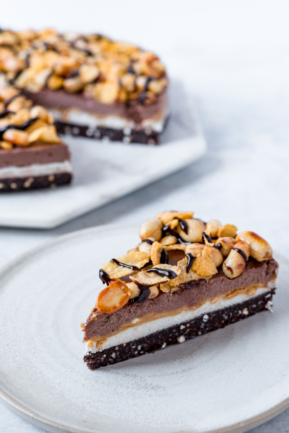 Raw vegan Snickers cake